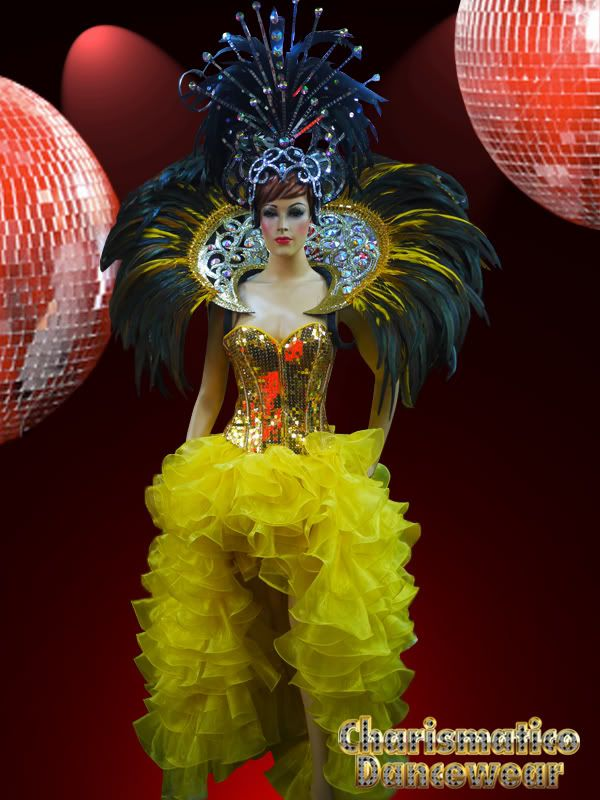 6656aee9967a drag queen costume | Charismatico Yellow Drag Queen Corset Ruffle Skirt  Costume Set .