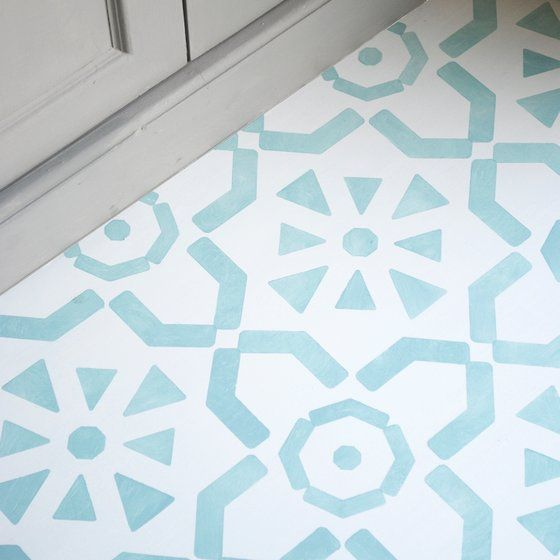 Large Medina Floor Stencil Stenciled Painted