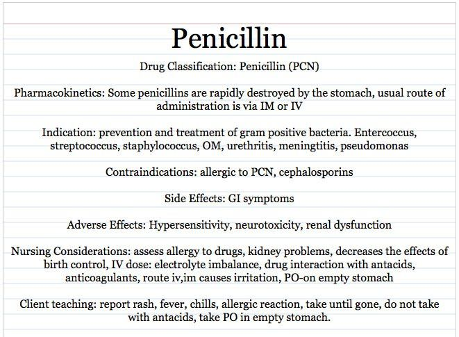 Vocational Nursing Resources Penicillin drug card sample - drug classification chart