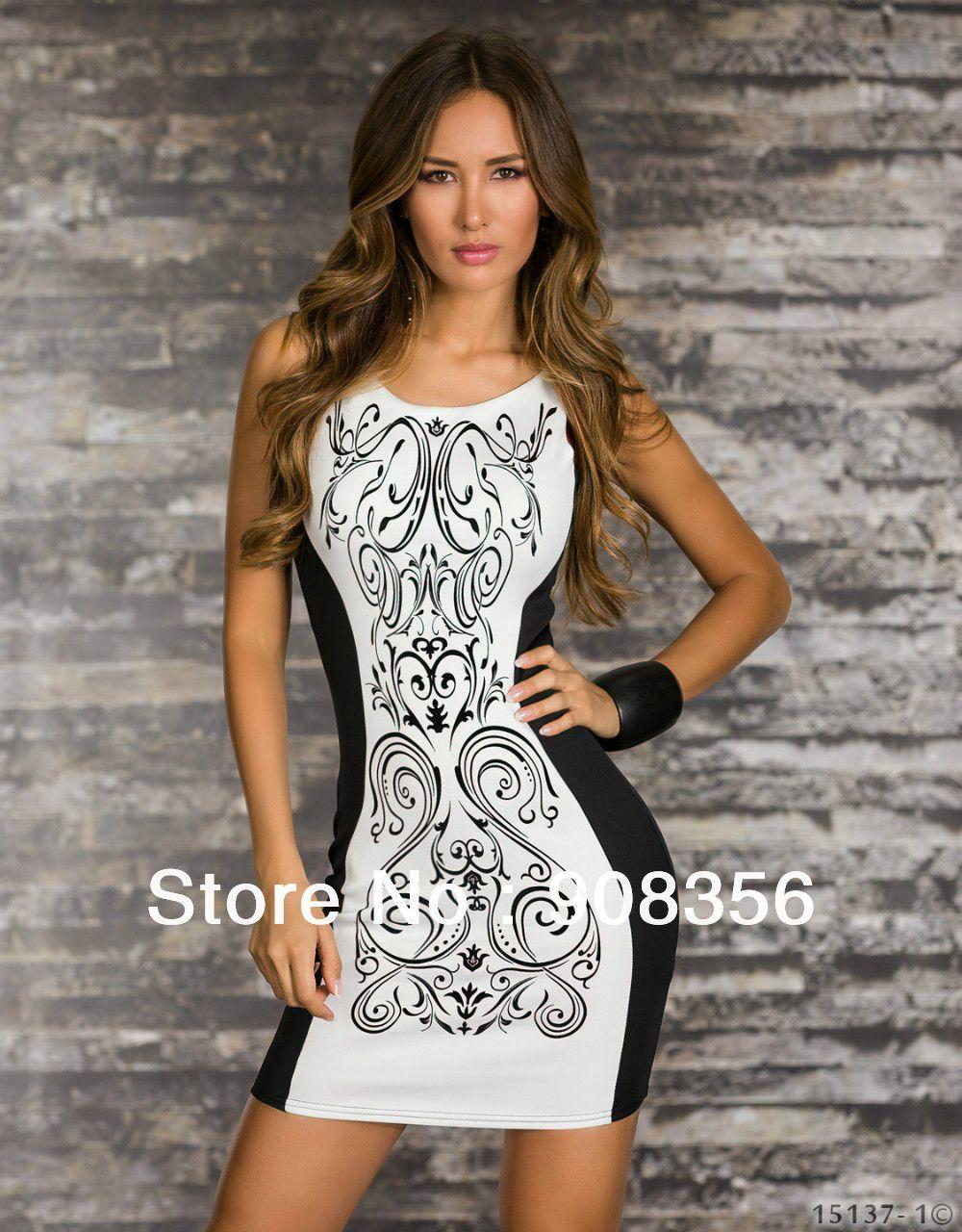 47cc923793 Plus Size 2014 New Fashion Women Retro Printed Black   White Patchwork  Casual Bodycon Dress Sexy