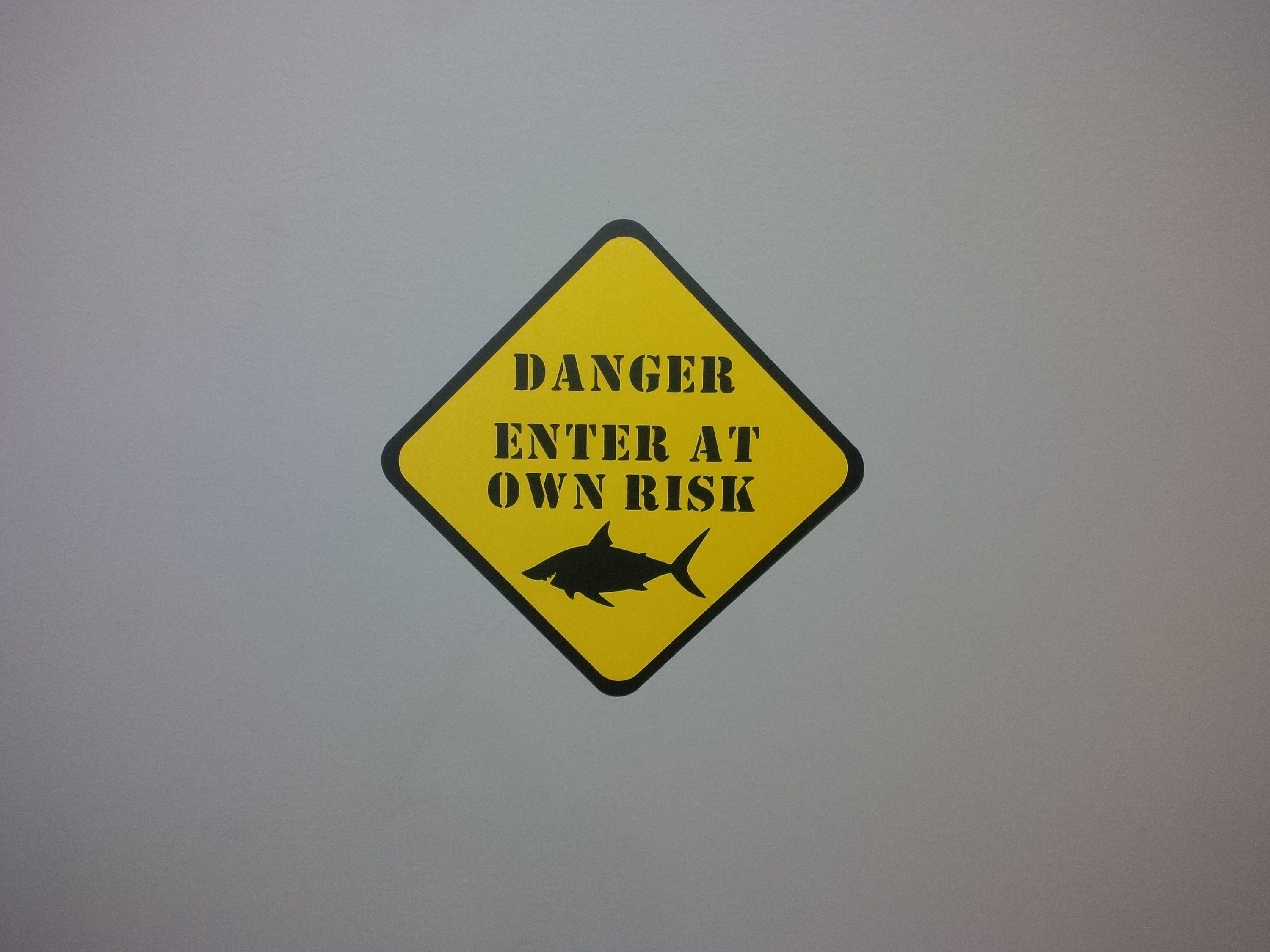 DANGER: Enter At Own Risk Shark Entry Sign Birthday Party Wall Decor ...
