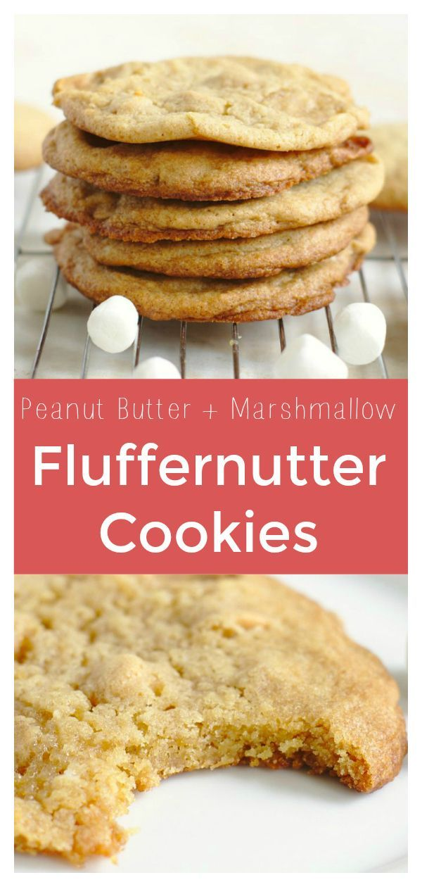 Fluffernutter Cookies – Classic peanut butter cookies made with marshmallow fluff, mini marshmallows, and peanut butter chips! These cookies are perfect for Christmas cookie exchanges or as an easy dessert! Fluffernutter Recipe | Peanut Butter Cookies | Marshmallow Cookies