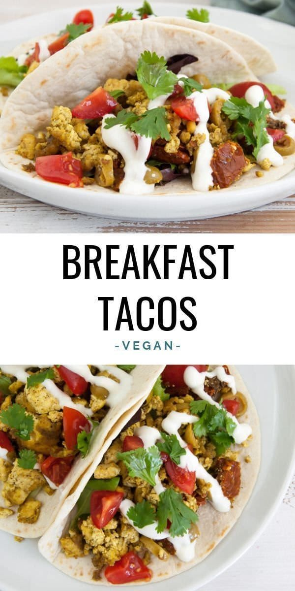 Vegan Breakfast Tacos filled with lettuce, tofu scramble, olives, sun-dried tomatoes, mayo, fresh tomatoes, and cilantro. Breakfast Tacos filled with lettuce, tofu scramble, olives, sun-dried tomatoes, mayo, fresh tomatoes, and cilantro. |
