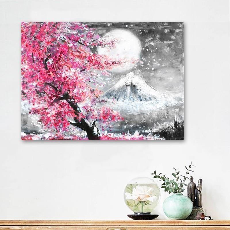 Japanese Cherry Blossom Canvas Wall Art Pink Landscape Home Decor Prints