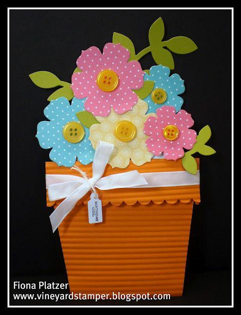 flower pot stampin up  handmade birthday cards shaped