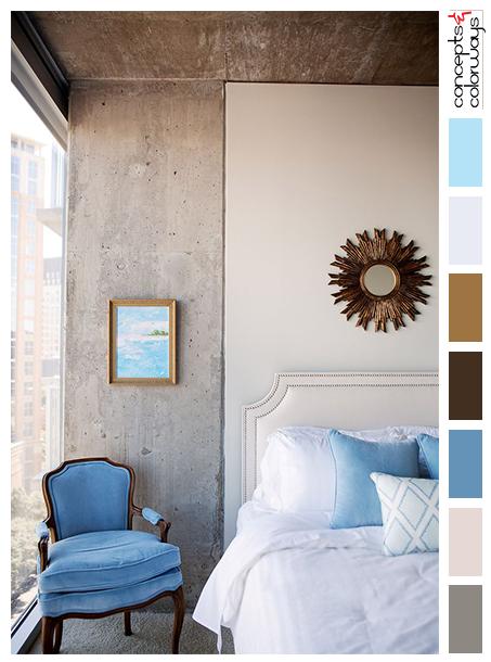 Ordinaire Loft Bedroom Inspired Color Palette, Wedgewood Blue, Slate Blue, Exposed  Concrete Ceiling,