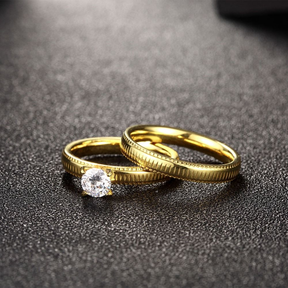 Titanium steel couple rings zircon upscale atmosphere both men and