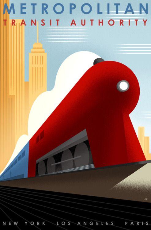 "Art Deco Poster- Metropolitan Transit Authority """