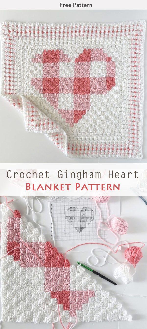 Crochet Gingham Heart Blanket Free Pattern | Manta, Para bebes y ...