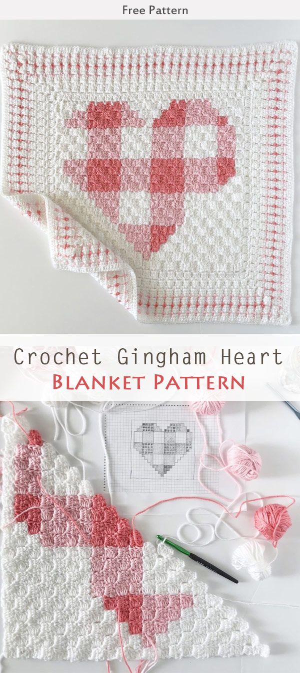 Crochet Gingham Heart Blanket Free Pattern | craft ideas | Pinterest ...