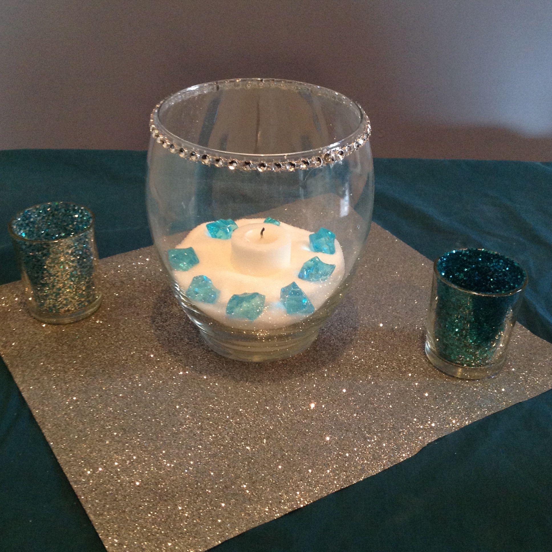 Glitter wedding centerpiece DIY tiffany blue and silver # ...