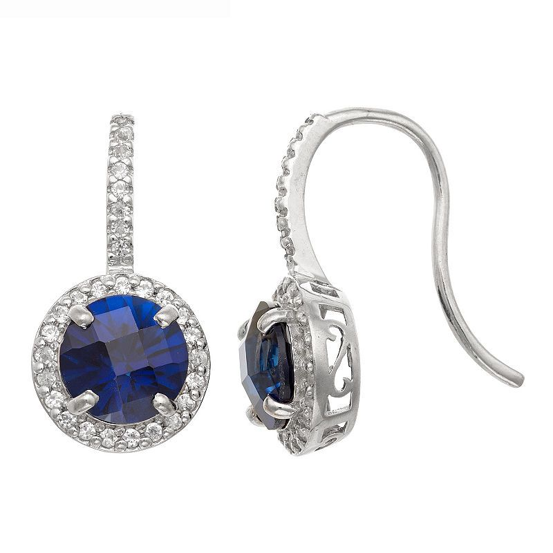 e5831c049 Lab Created Blue Sapphire Sterling Silver Round Drop Earrings ...
