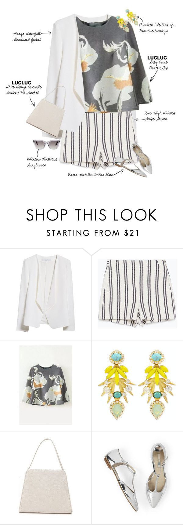 """Summer Strollin"" by fashionscribbles ❤ liked on Polyvore featuring MANGO, Zara, Elizabeth Cole and Valentino"
