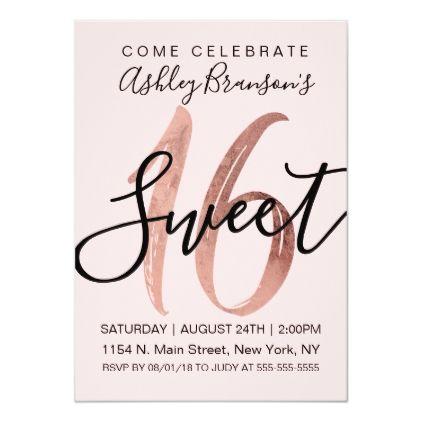 Girly Black Blush Pink Rose Gold Foil Sweet 16 Invitation   Zazzle.com