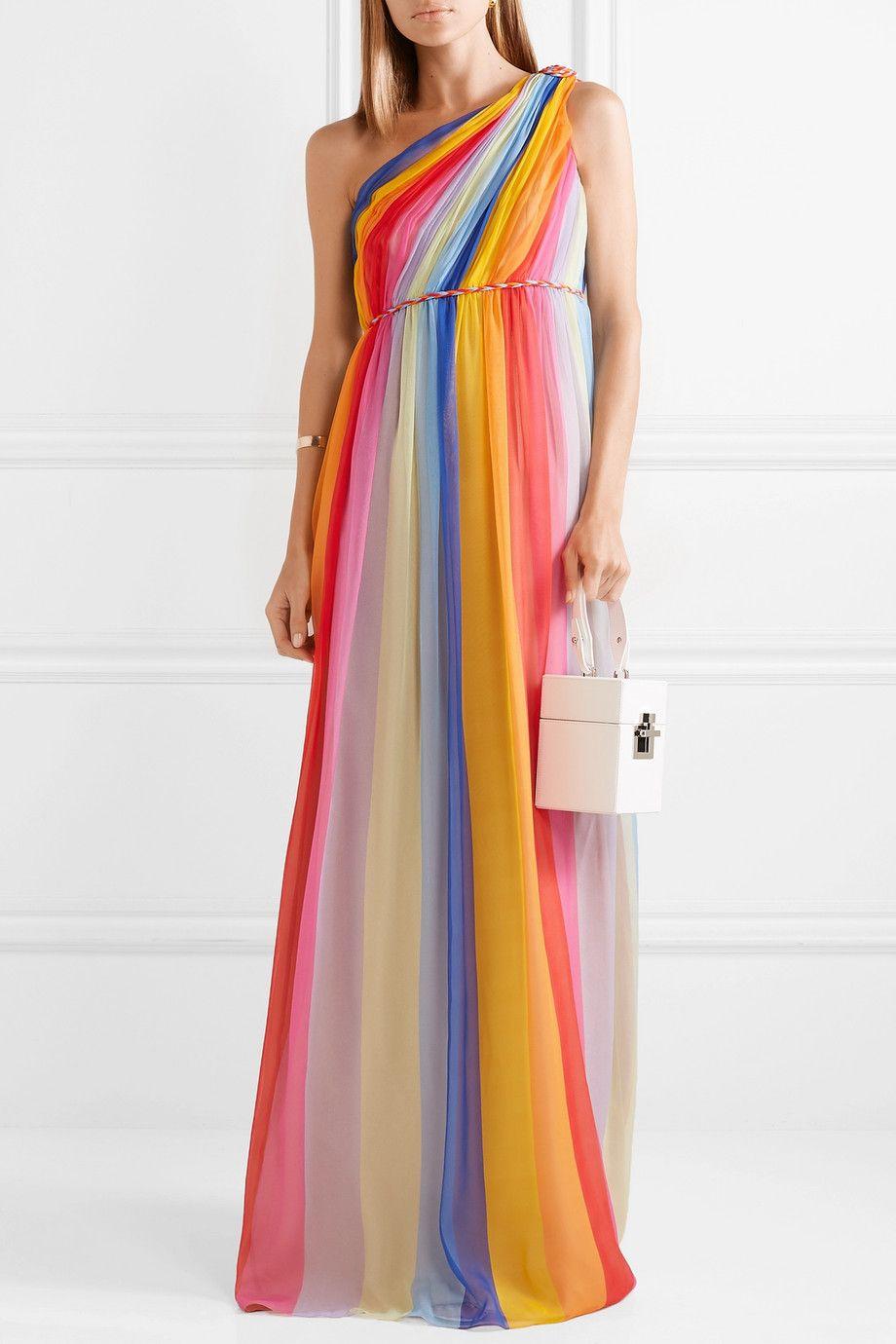 35aa8c3b8a Carolina Herrera | One-shoulder striped pleated silk-tulle gown |  NET-A-PORTER.COM