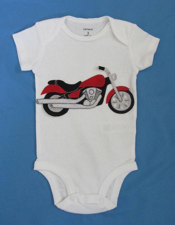 Motorcycle Applique Baby Clothes Hand Sewn Baby Bodysuit Baby
