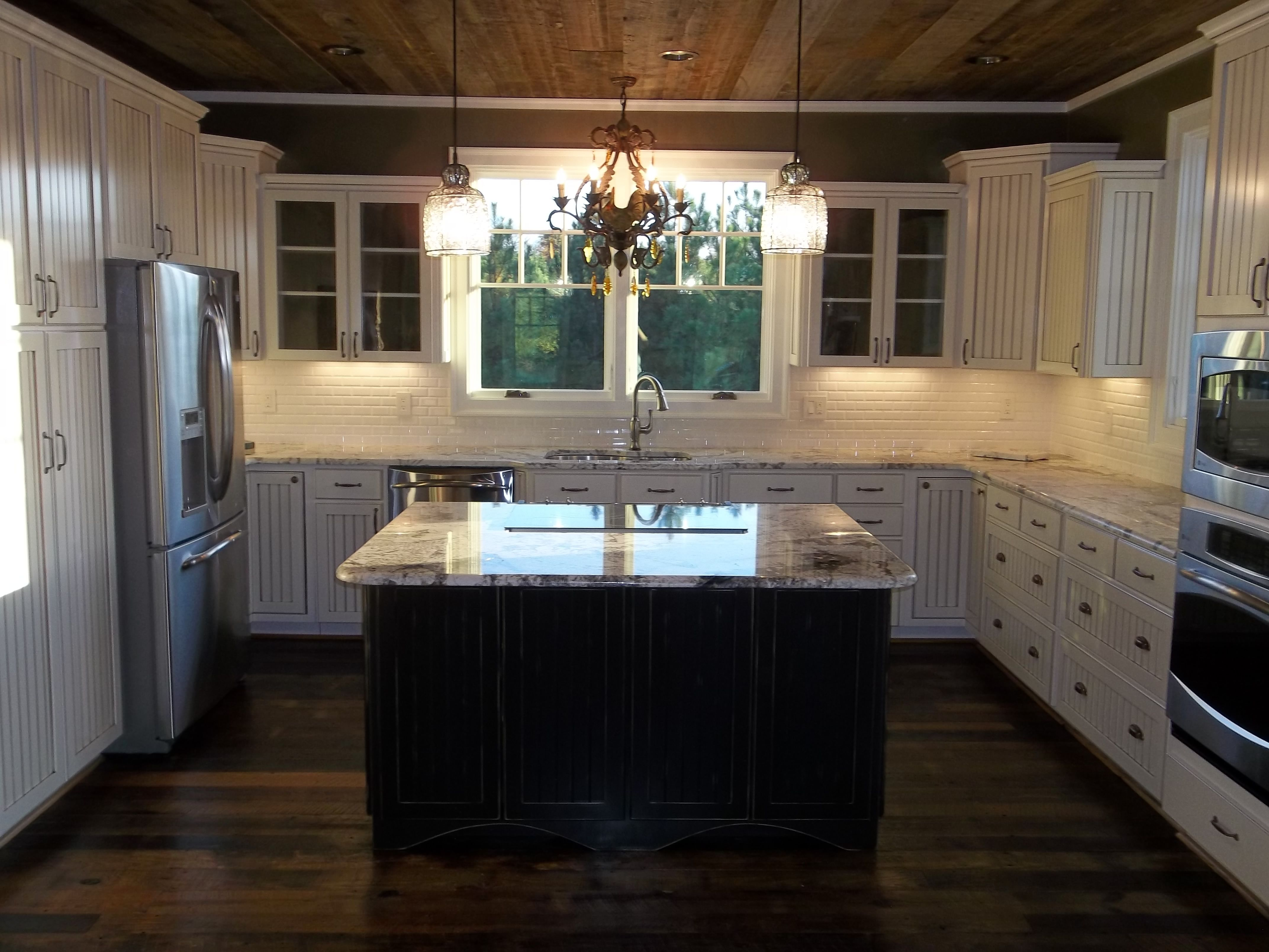 Kitchens Reclaimed Wood Ceiling   Custom Kitchen With Granite And Reclaimed  Wood On Ceiling And Floor