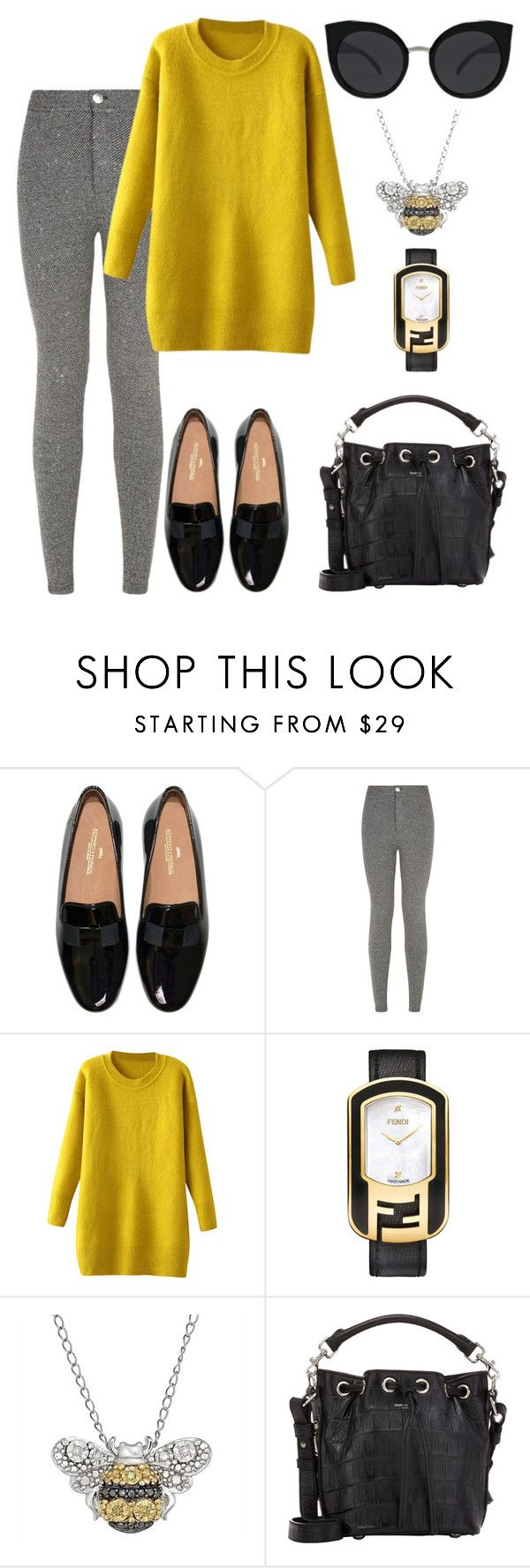 """""""Loafer."""" by schenonek ❤ liked on Polyvore featuring Fendi, Yves Saint Laurent, Quay, women's clothing, women, female, woman, misses and juniors"""