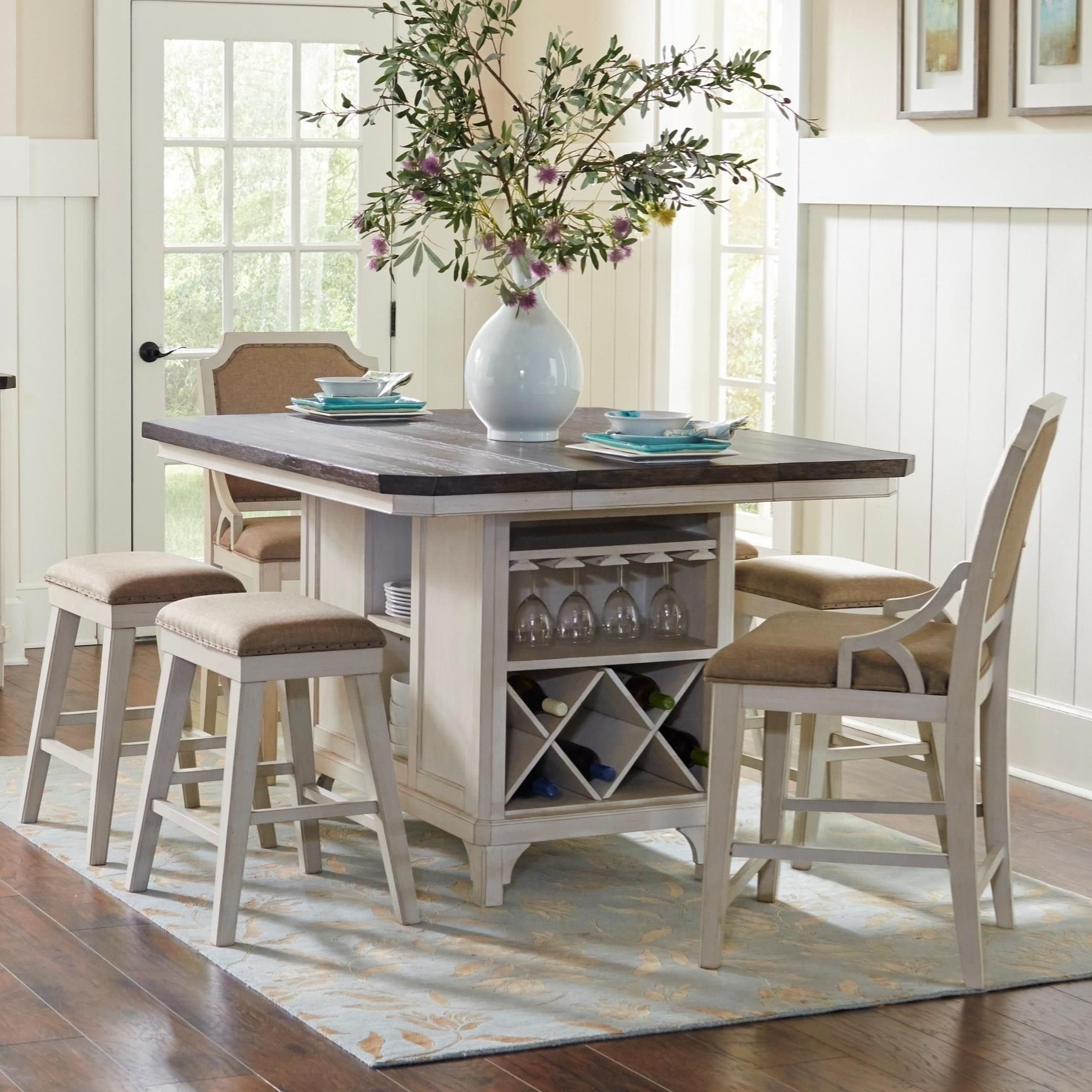 kitchen island table with chairs. Mystic Cay 7-Piece Kitchen Island Table Set By Avalon Furniture With Chairs R