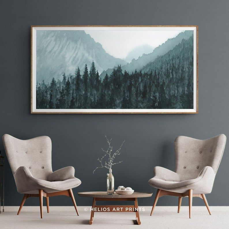 Panoramic Mountain Forest Wall Art Teal Blue Mountain Valley Etsy Forest Wall Art Panoramic Wall Art Landscape Wall Art
