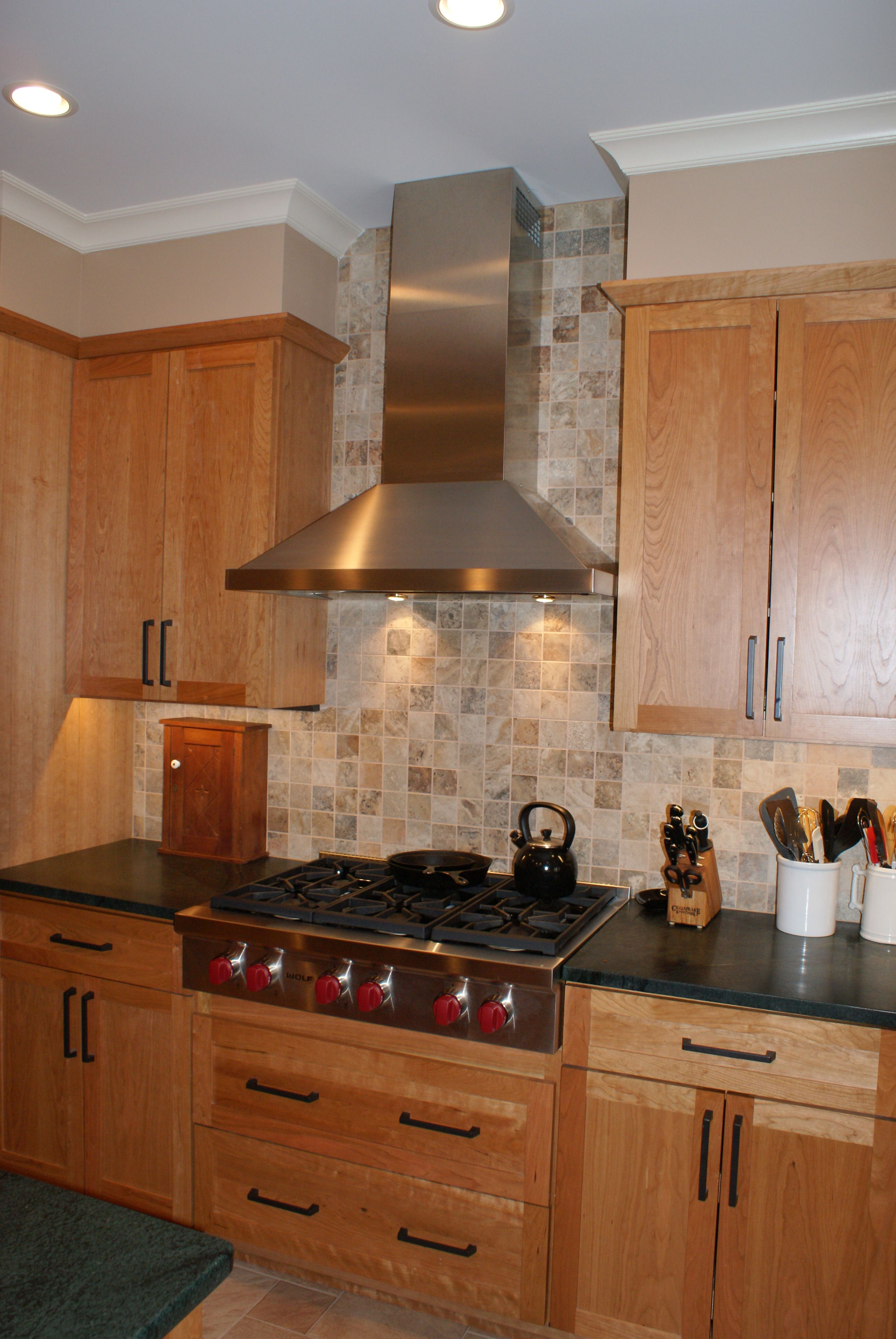 Kitchen Cabinets To Ceiling With Glass Backsplash Tile To Ceiling Behind Range Hood Kitchens