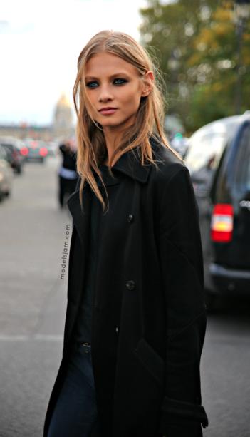 black coat & jeans- Anna Selezneva, Paris, October 2012