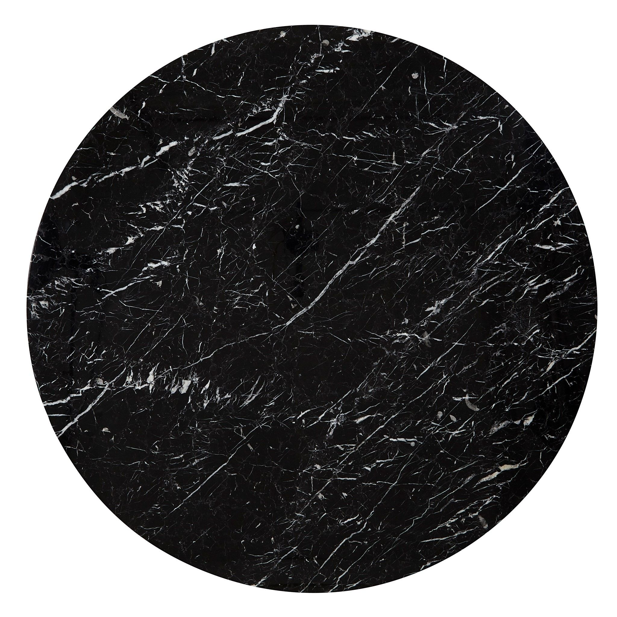 Ava Carrara Marble Round Dining Table In Black