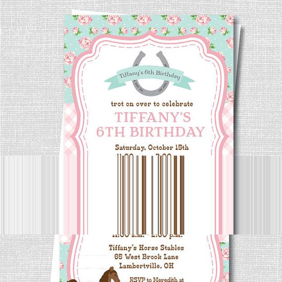 Sweet Pink And Blue Floral Horse Birthday Party Invite Horseback - Horseback riding birthday invitation