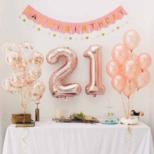 Rose Gold Balloons Set Number 21 Foil Balloons Birthday