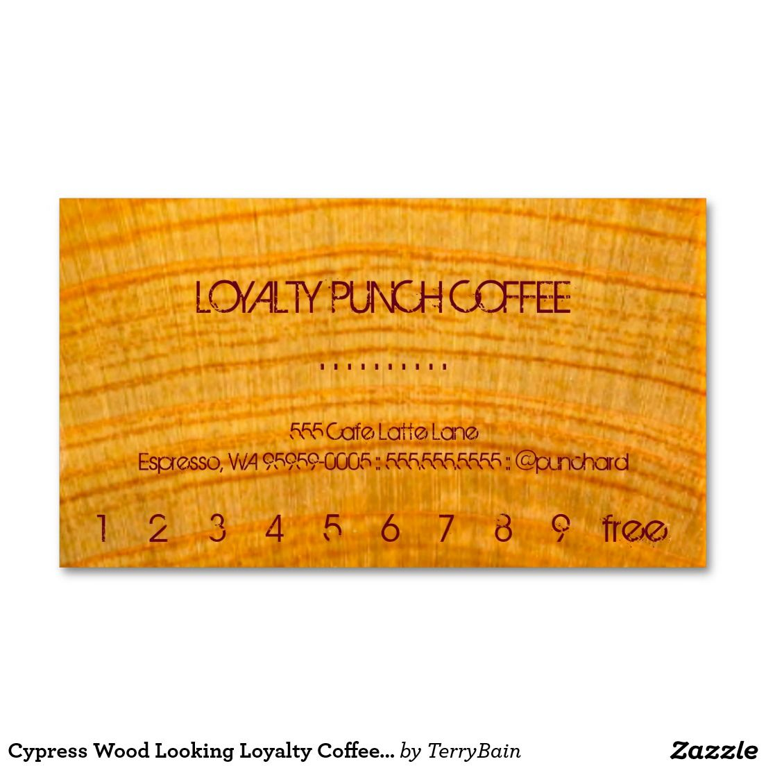 Cypress Wood Looking Loyalty Coffee Punch-Card Business Card | Loyal ...