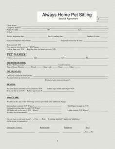 pet sitting forms on Pinterest | Pet Sitting, Pet Care and Pets ...