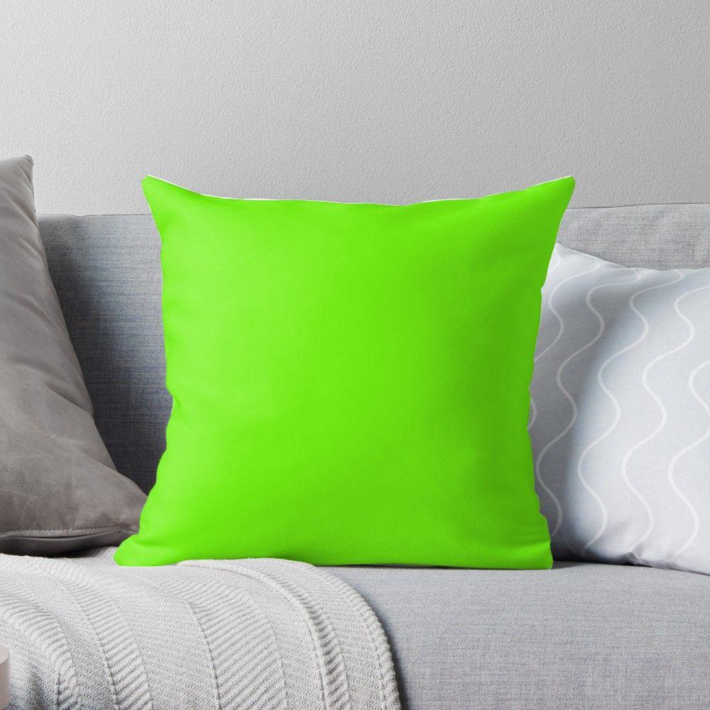 Super Bright Fluorescent Green Neon Throw Pillow By Podartist