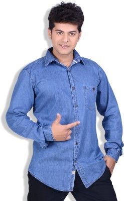 6011fd8a3e1 SPEAK Blue Polplin Denim Cotton Trendy Men s Solid Casual