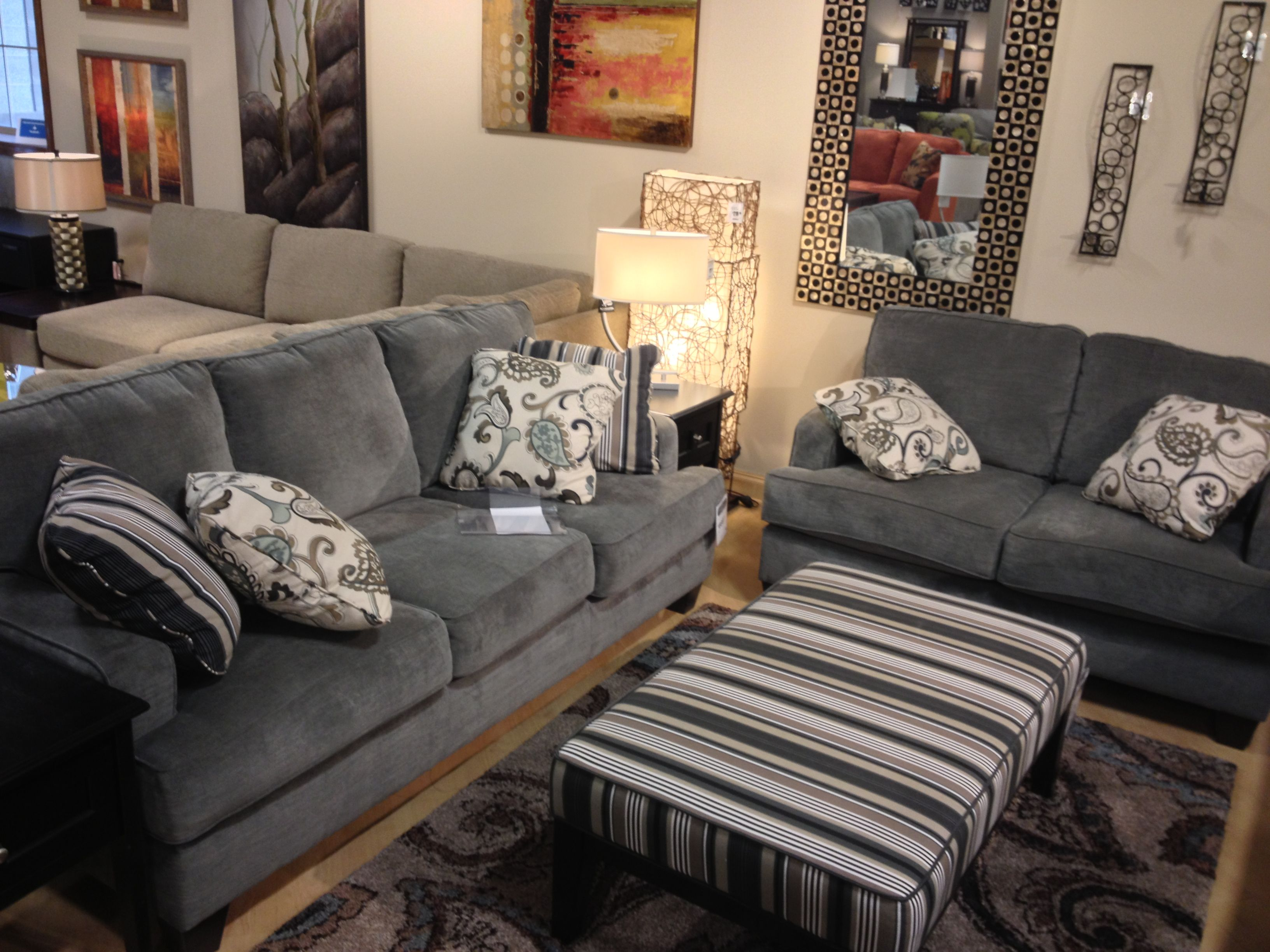 Yvette Steel Couch And Loveseat At Ashley Furniture