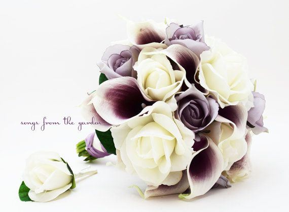 Lavender White Roses Picasso Calla Lilies Bridal Bouquet Grooms Boutonniere Silk Flower Brid Purple Wedding Flowers Calla Lily Bridal Wedding Flower Packages