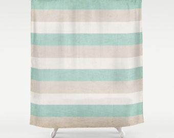 Stripe Shower Curtain Coastalaqua Home Decorbeachsandbeigetanwhite Bathbathroomhousewares