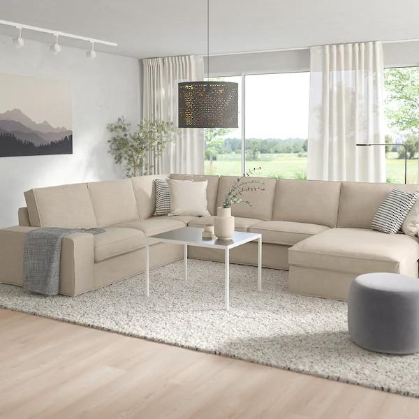 Kivik Sectional 5 Seat Corner With Chaise Hillared Beige Ikea In 2020 Kivik Sofa Modular Sectional Sofa Beige Sectional Living Room