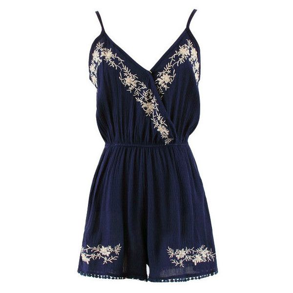 Navy Embroidered Surplice Cami Romper (89 BRL) ❤ liked on Polyvore featuring jumpsuits, rompers, dresses, jumpsuit, combinaison, navy blue rompers, blue rompers, navy blue romper, surplice romper and blue camisole