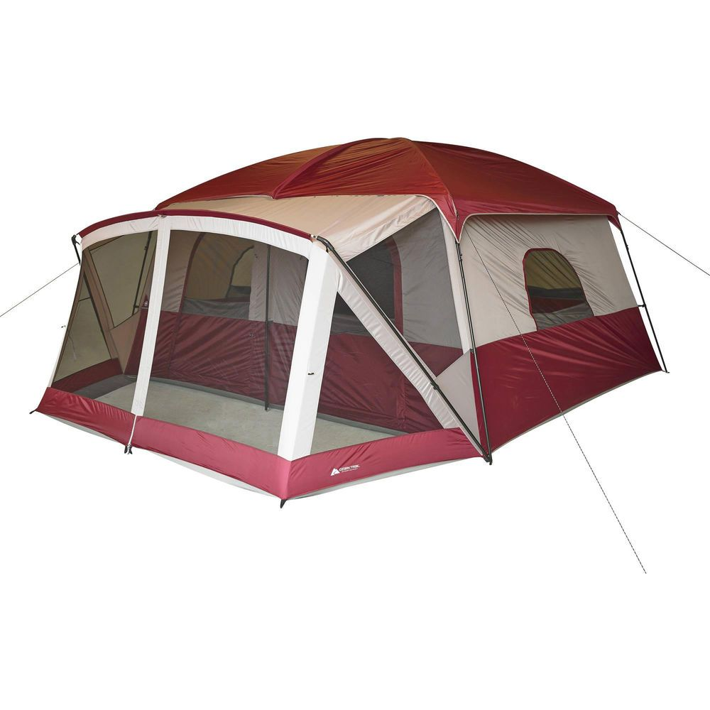 12 Person Cabin Tent With Screen Porch Camp Outdoor Family Hiking Travel Shelter Ozarktrail Frametent Cabin Tent Camping Bed Family Tent Camping