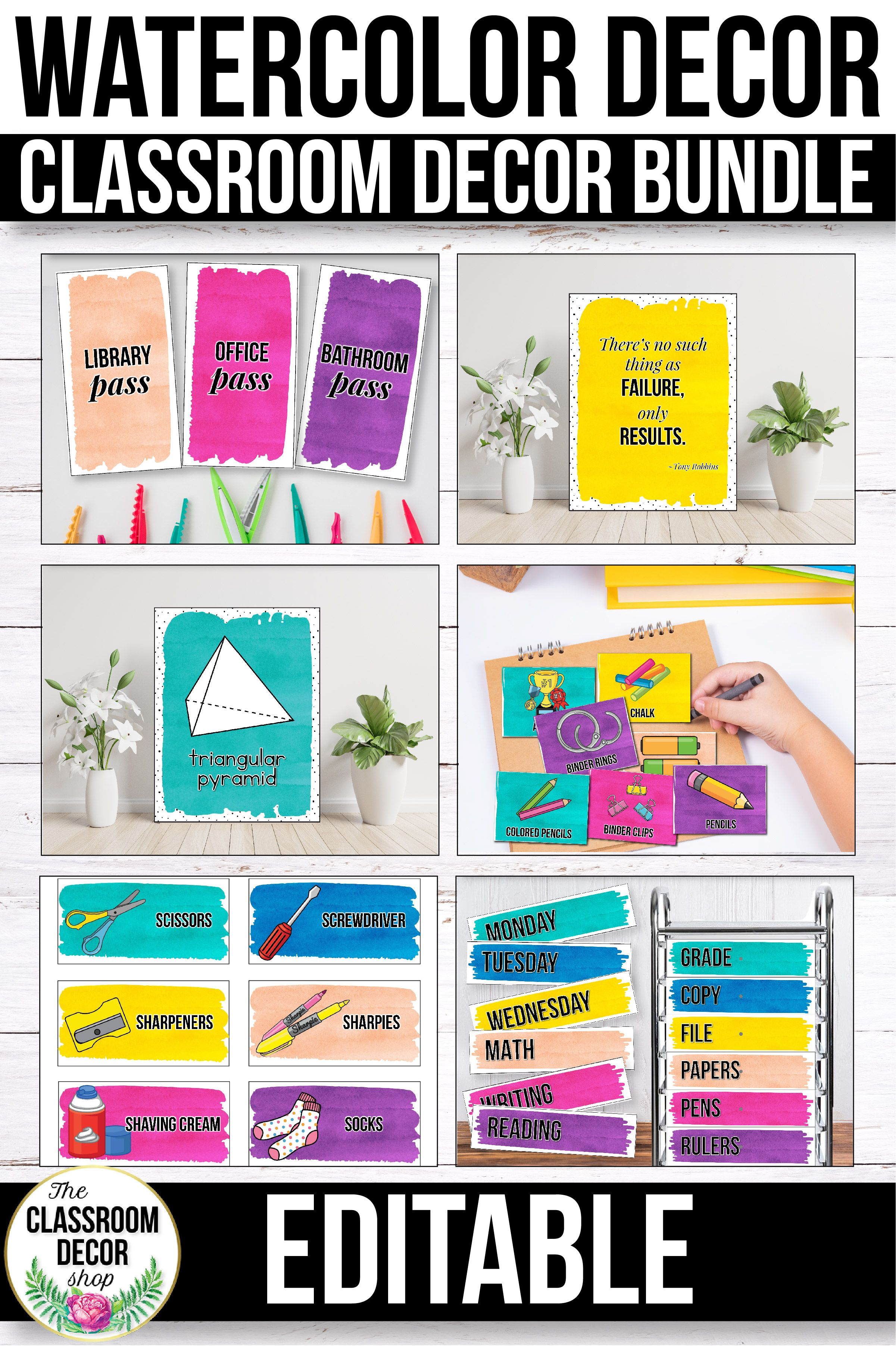 Watercolor Classroom Decor Bundle Editable Watercolor Classroom