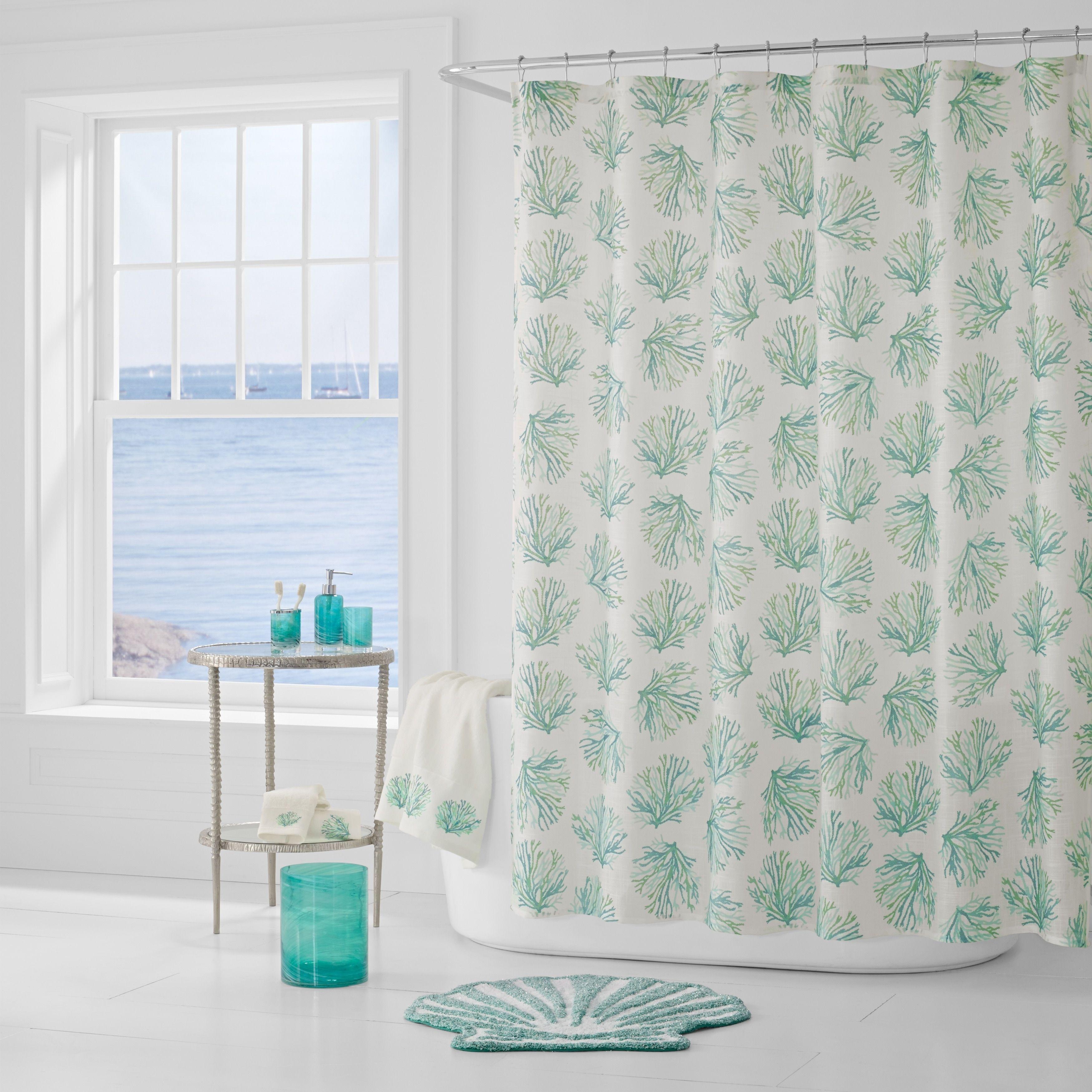 Five Queens Court Caribbean Reef Print Shower Curtain Aqua Blue Size 72 X Polyester Motif