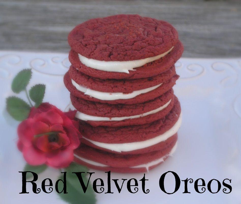Red Velvet Oreos.  Super easy and super yummy!