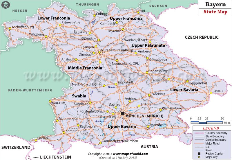 Map Of Germany Showing Major Cities.Bayern Landkarte Please Enter Your Email Id State Of Bavaria