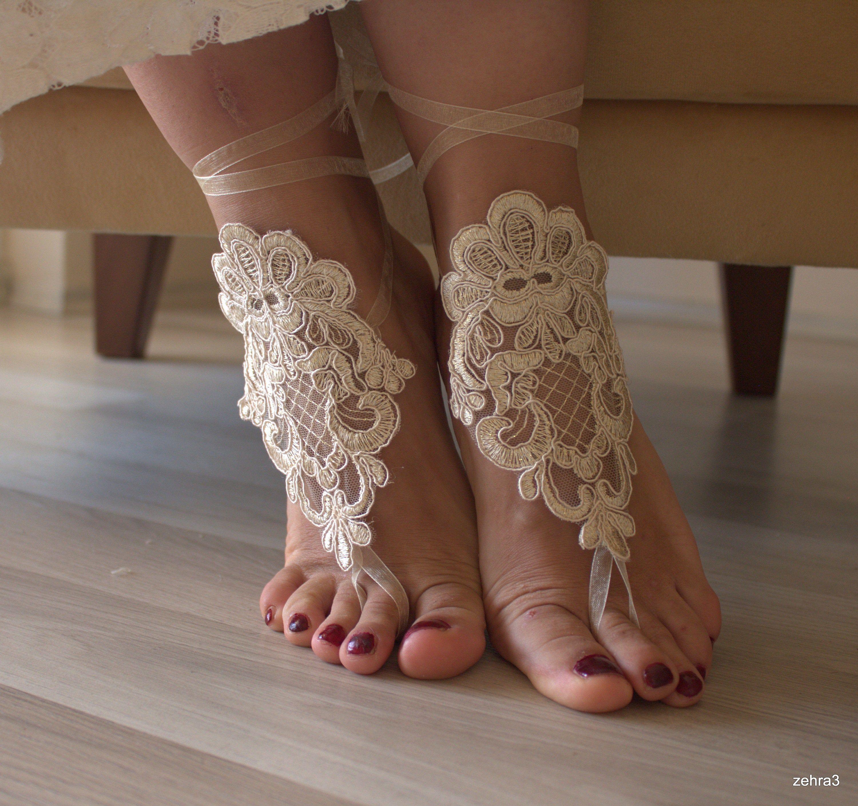 Bridal Barefoot,Sandals, Beach Wedding Lace sandals, Bridal shoes, champagnelace sandals, Wedding anklet,Barefoot Sandals Wedding