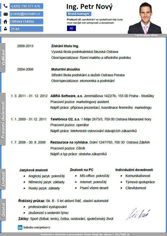 Pro CV 10. vzor muž. Více informací zde http://.pro cv.cz