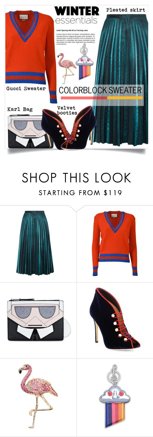 """""""Color block Sweater"""" by theglossyspace ❤ liked on Polyvore featuring Gucci, Karl Lagerfeld, Gianvito Rossi and STELLA McCARTNEY"""