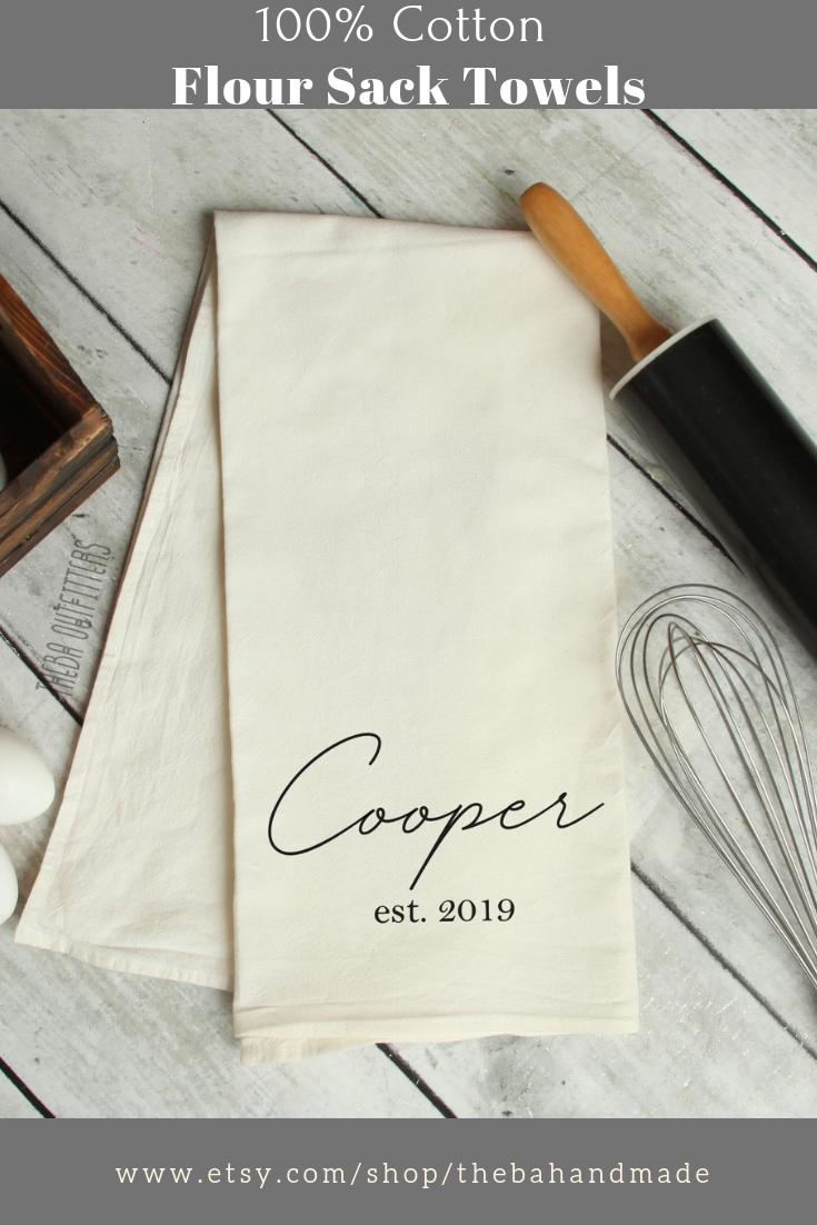 Custom Name Tea Towel Personalized Kitchen Towel Wedding Gift
