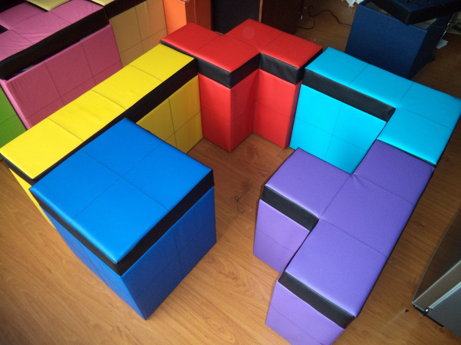 Set Of 5 Pieces Of Tetris Shaped Storage Benches 50cm High Or