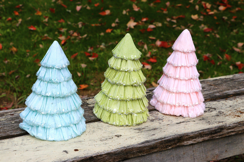 Crepe Paper Mache Trees Pink Christmas Tree Pink Paper Mache Etsy Pink Christmas Pink Christmas Tree Paper Mache Tree