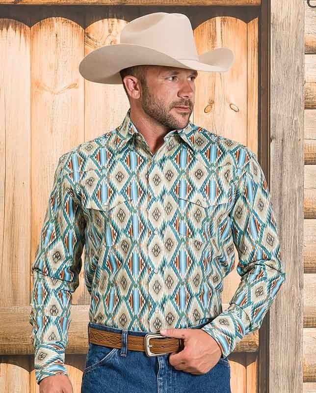 """Wrangler Men's Checotah Tan and Blue Aztec Stripe Long Sleeve Shirt with western yokes, snap front #winter2015 casual men's clothing for cowboys rugged men man western ranch style tough """"gifts for cowboys"""" """"gifts for men"""""""